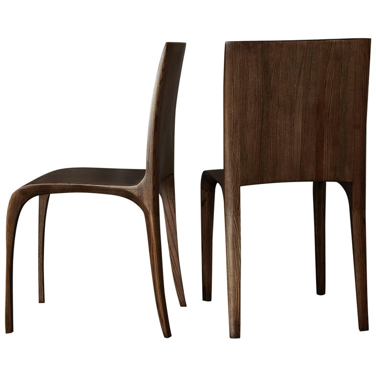 Contemporary pair of hand-carved ash chairs by Jonathan Field