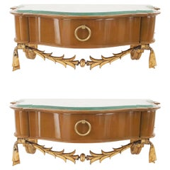 Pair of French Midcentury Bracket Consoles, Andre Arbus