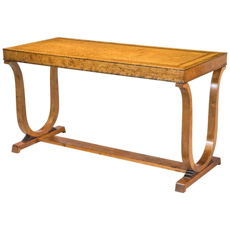 Carl Malmsten for Nordiska Kompaniet, Swedish Grace Quilted Birch Center Table