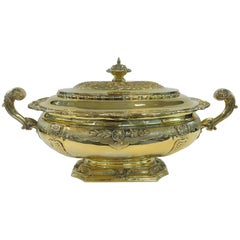 Unusual, Tiffany Sterling Silver Gilt Oval Jardinière or Cooler