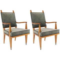 Pair French Midcentury Blond Mahogany Arm Chairs, Lucien Rollin