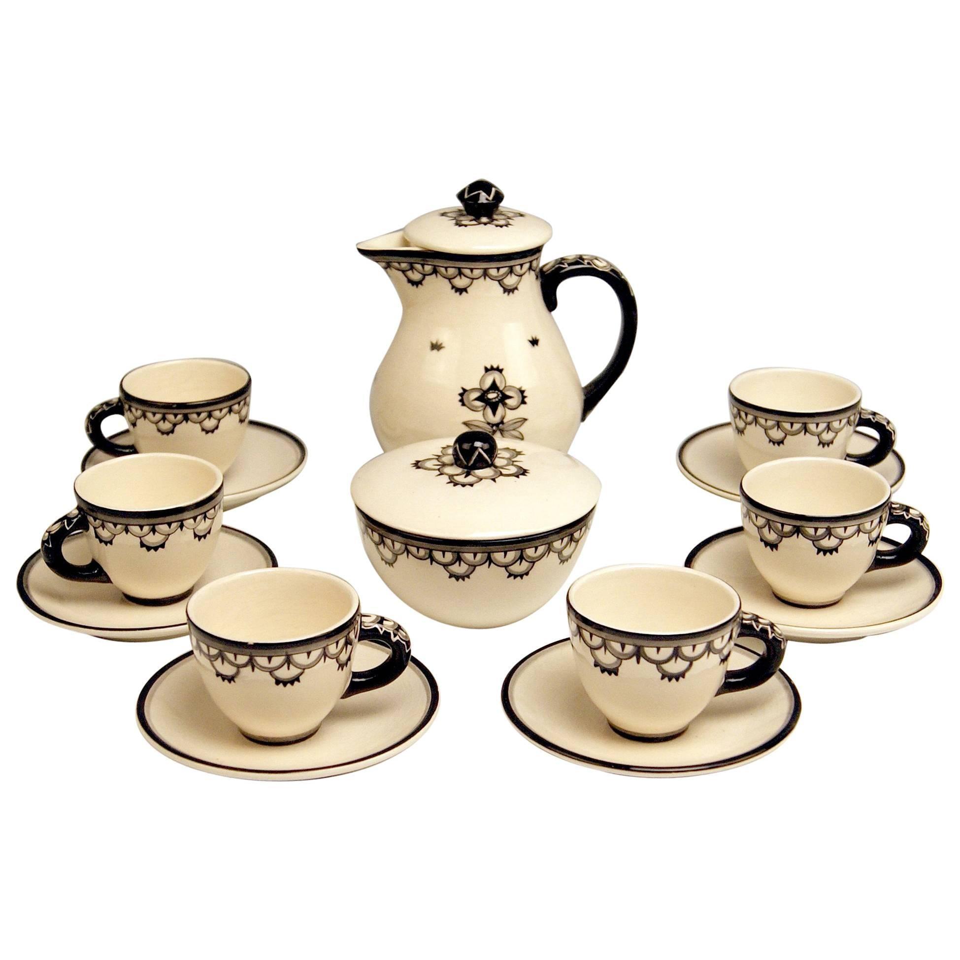 Mocha Set Dagobert Peche Circle Gmunden Ceramics Made, circa 1919