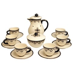 Mocha Set Dagobert Peche Circle Gmunden Ceramics Made, circa 1919