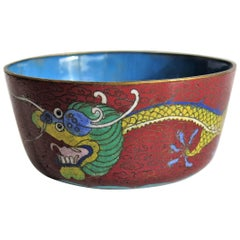 Chinese Cloisonné Dragon Drinking Bowl Rounded Peony Base, Mid-19th Century