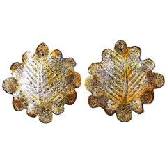 Mazzega Murano glass handblown Italian pair of Sconces 40 cm ,1970