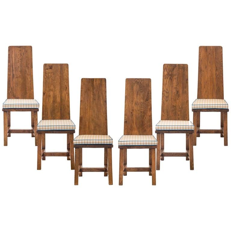 Set of 6 Swedish Oak Jugendstil Chairs