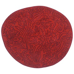 Bichos Y Flores Red Hand-Tufted Wool Rug by Javier Mariscal in Stock