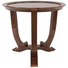 French Midcentury Rosewood Round End Table, Jules Leleu