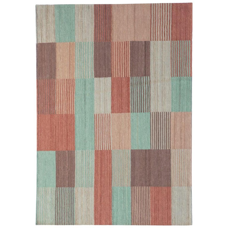 Blend 2 Hand-Loomed Afghan Wool Rug by Raw Color in Stock For Sale
