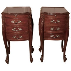 Pair of French Walnut and Ormolu Three-Drawer Bedside Cabinets