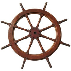 Late 19th Century Ships Wheel Hard Wood and Iron