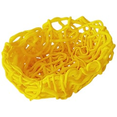 Contemporary Yellow Basket by Gaetano Pesce in Poliurethane, 21th Century