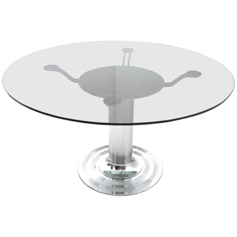Round Chromed Metal Dining Table with a Tempered Glass Top, Italy, 1970s For Sale