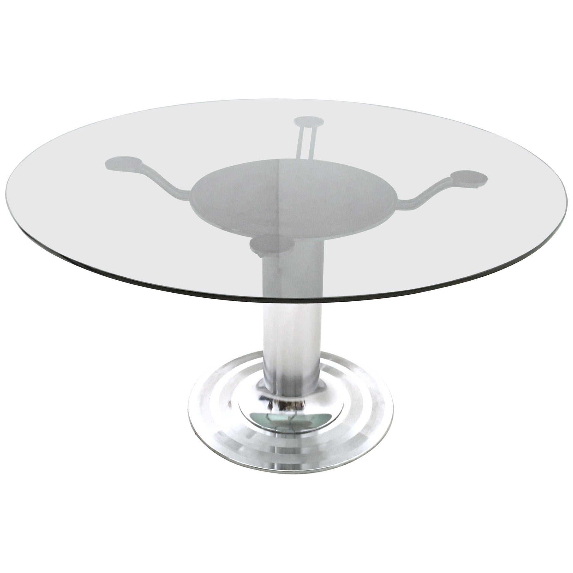 Round Chromed Metal Dining Table with a Tempered Glass Top, Italy, 1970s