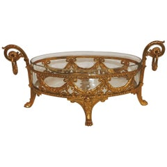 Dore Bronze Crystal Oval Bowl Centerpiece Ormolu Bows Filigree Swag Paw Feet
