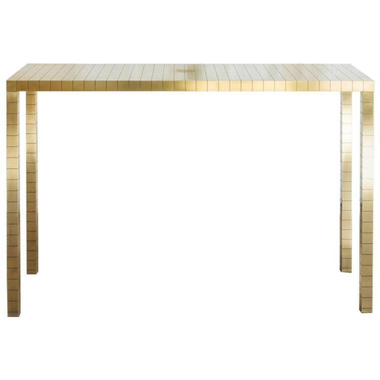 gold console table. Brass Metal \ Gold Console Table C