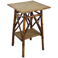Antique English Square Bamboo Side Table, Map Decoupage