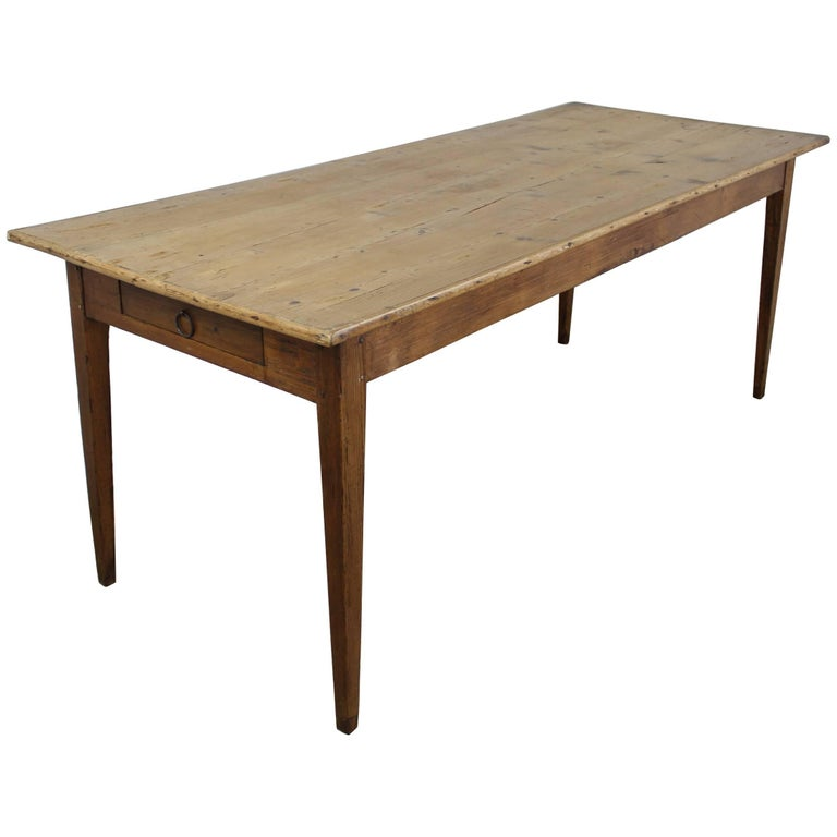 Antique Blond Pine Farm Table, One-Drawer, Breadslide