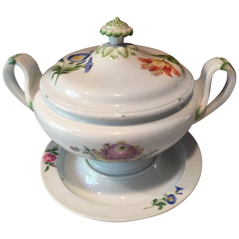 19th Century Large Meissen Hand-Painted Tureen on Stand