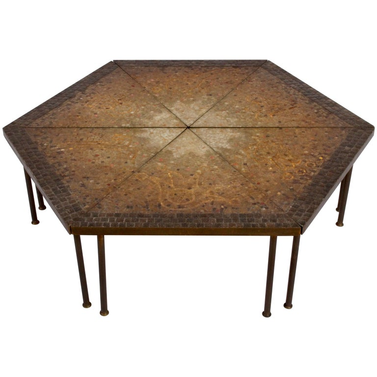 Genaro Alvarez Six-Piece Mosaic and Brass Coffee Table, 1950s