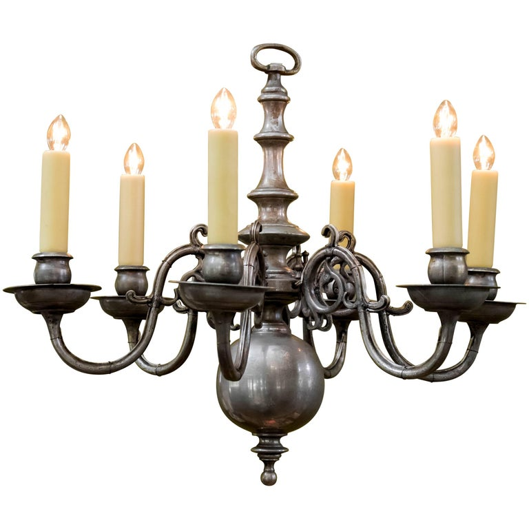 Magnificent Pewter Colored Nickel On Brass Flemish Chandelier Circa 1940 For