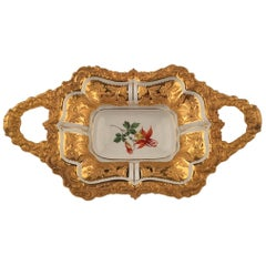 20th Century Meissen Two Handle Serving Tray with Gold Gilt Handles and Boarder