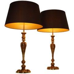 Pair of Maison Baguès Bronze Table Lamps, 1940s