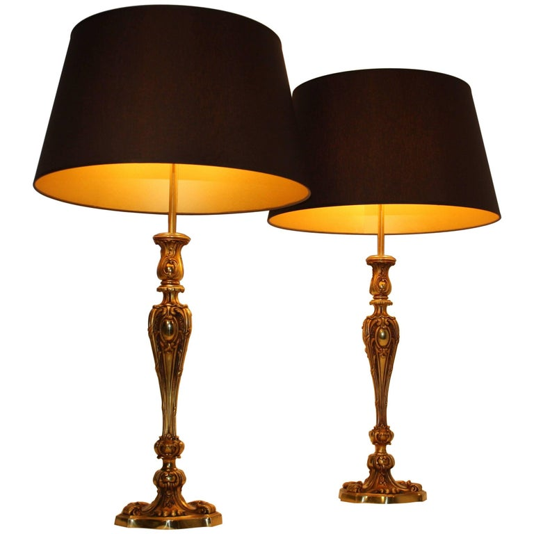 Pair of Maison Baguès Bronze Table Lamps, 1940s