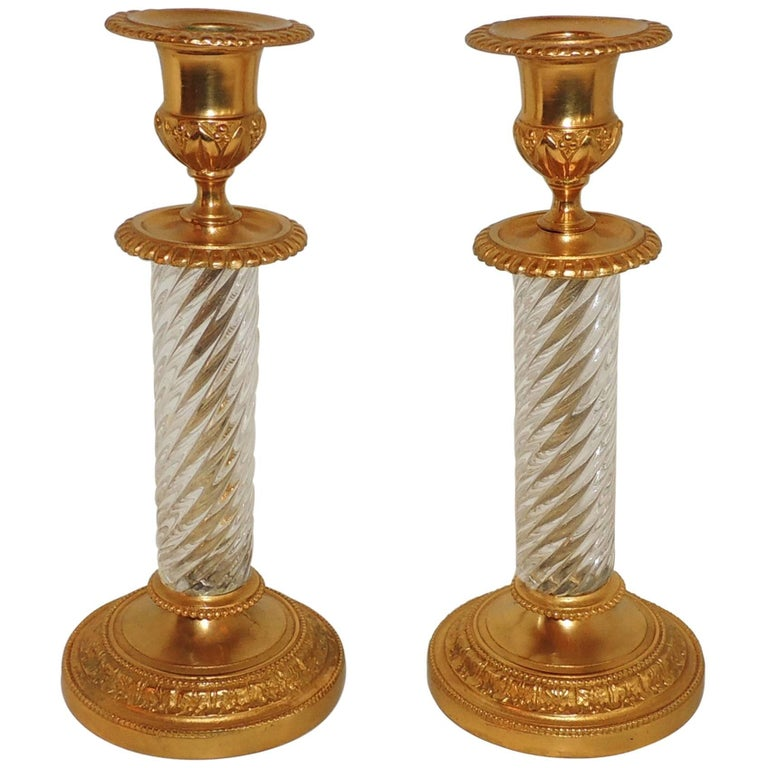 French Pair of Baccarat Empire Doré Cut Crystal Ormolu-Mounted Candlesticks For Sale