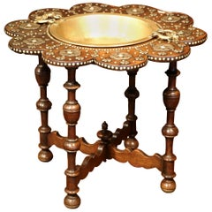 Early 19th Century Spanish Carved Walnut Brasero Table with Removable Brass Top