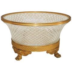 Wonderful French Ormolu Doré Bronze Cut Crystal Gilt Paw Feet Centerpiece Bowl