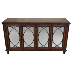 Walnut Mirrored Credenza