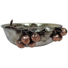 Gorham Sterling Silver and Mixed Metal Bowl with Cherries and Dog