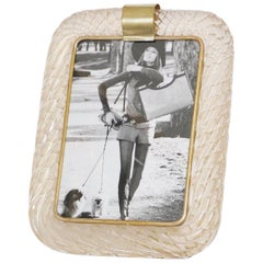 Venini Torciglione Murano Glass Photo Frame with Gold Infusions