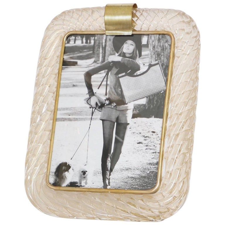 Venini Torciglione Murano Glass Frame with Gold Infusions