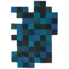 Do-Lo-Rez 1 Blue Hand-Tufted New Zealand Wool Area Rug by Ron Arad in Stock