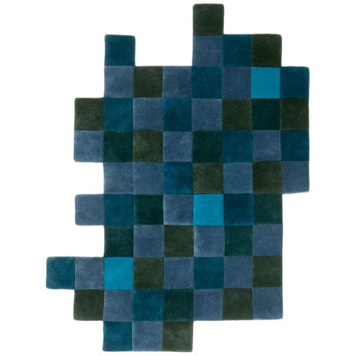 Do-Lo-Rez 2 Blue Hand-Tufted New Zealand Wool Area Rug by Ron Arad in Stock