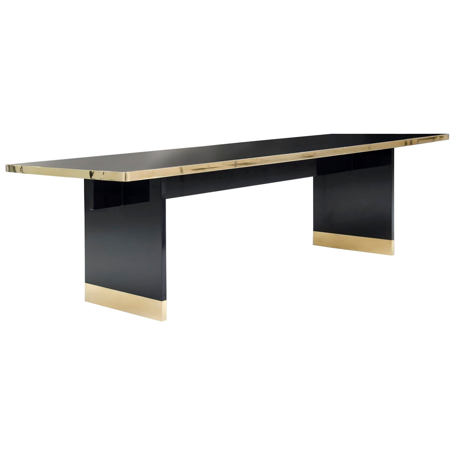 Winslow Dining Table in Brass and Lacquered Wood and Glass Top Contemporary