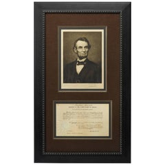 Abraham Lincoln Signed Document and Portrait