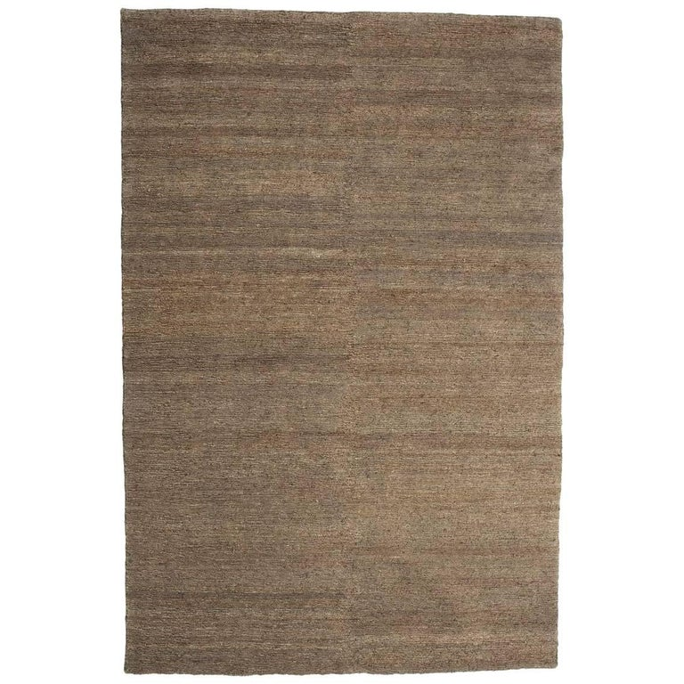 Khaki Earth Rug in Hand-Knotted Jute by Nani Marquina & Ariadna Miquel, Large For Sale