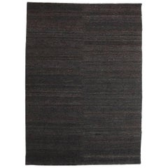 Black Earth Rug in Hand-Knotted Jute by Nani Marquina & Ariadna Miquel, Large