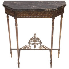 Oscar Bach Charcoal Marble, Bronze and Iron Console Table, circa 1920