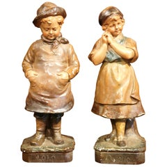 Pair of Early 20th Century French Painted Terracotta Sculptures Signed F. Citti