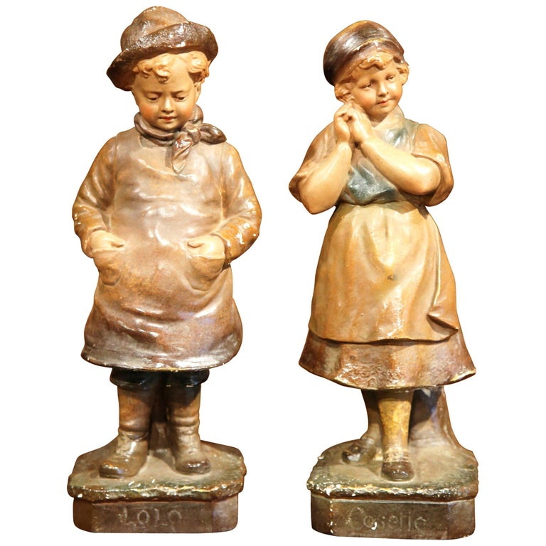 Pair of Early 20th Century French Painted Terracotta Sculptures Signed F. Citti For Sale