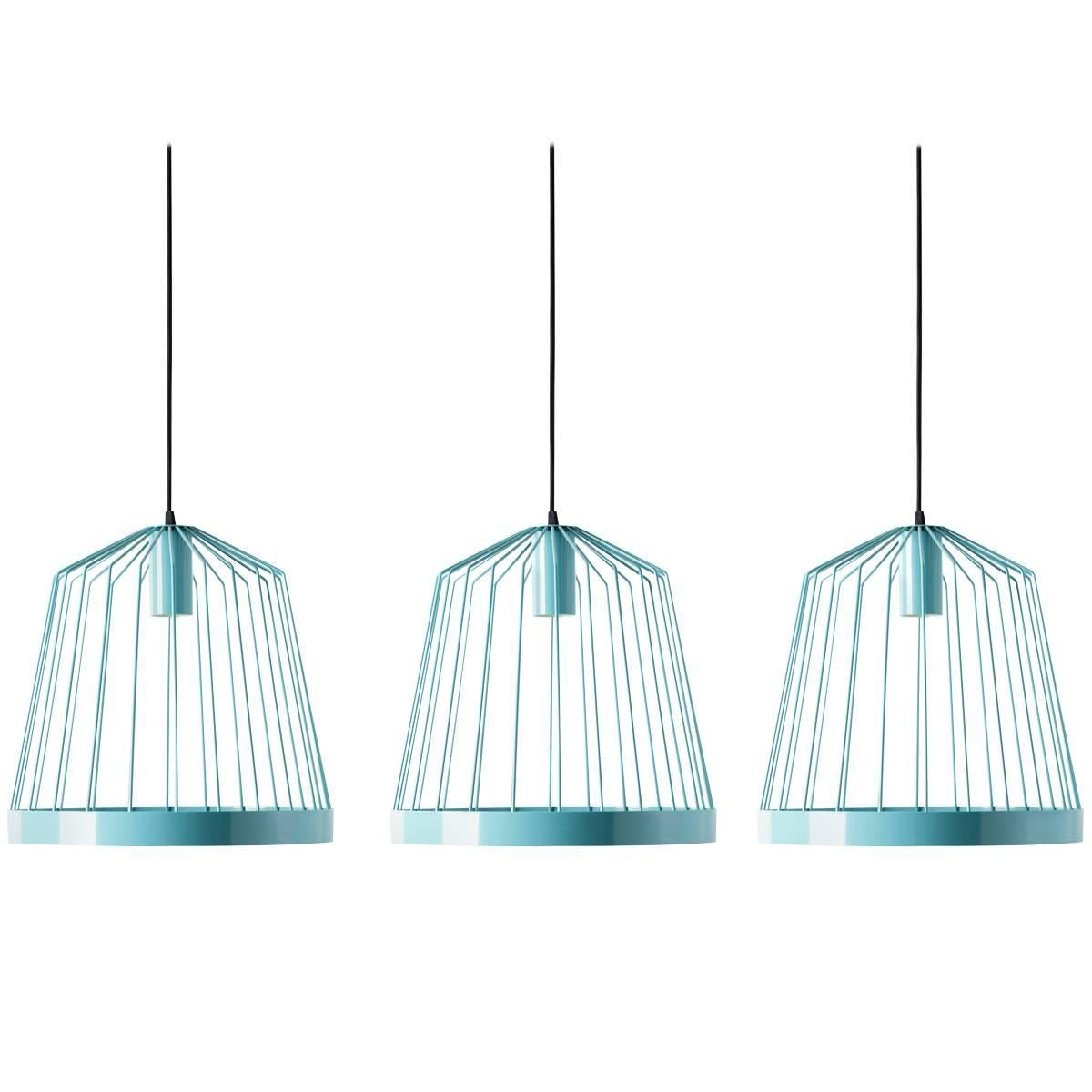Three UL Contemporary Concealed LED Turquoise Blue Steel Hanging Pendant Lights