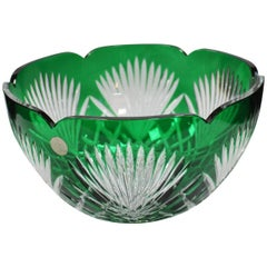 Large Cut-Glass Green Overlay Crystal Bowl