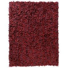 Field of Flowers HandLoomed Red Wool Felt Rug by Studio Tord Boontje in Stock