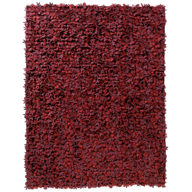 Field of Flowers HandLoomed Red Wool Felt Rug by Studio Tord Boontje in Stock For Sale