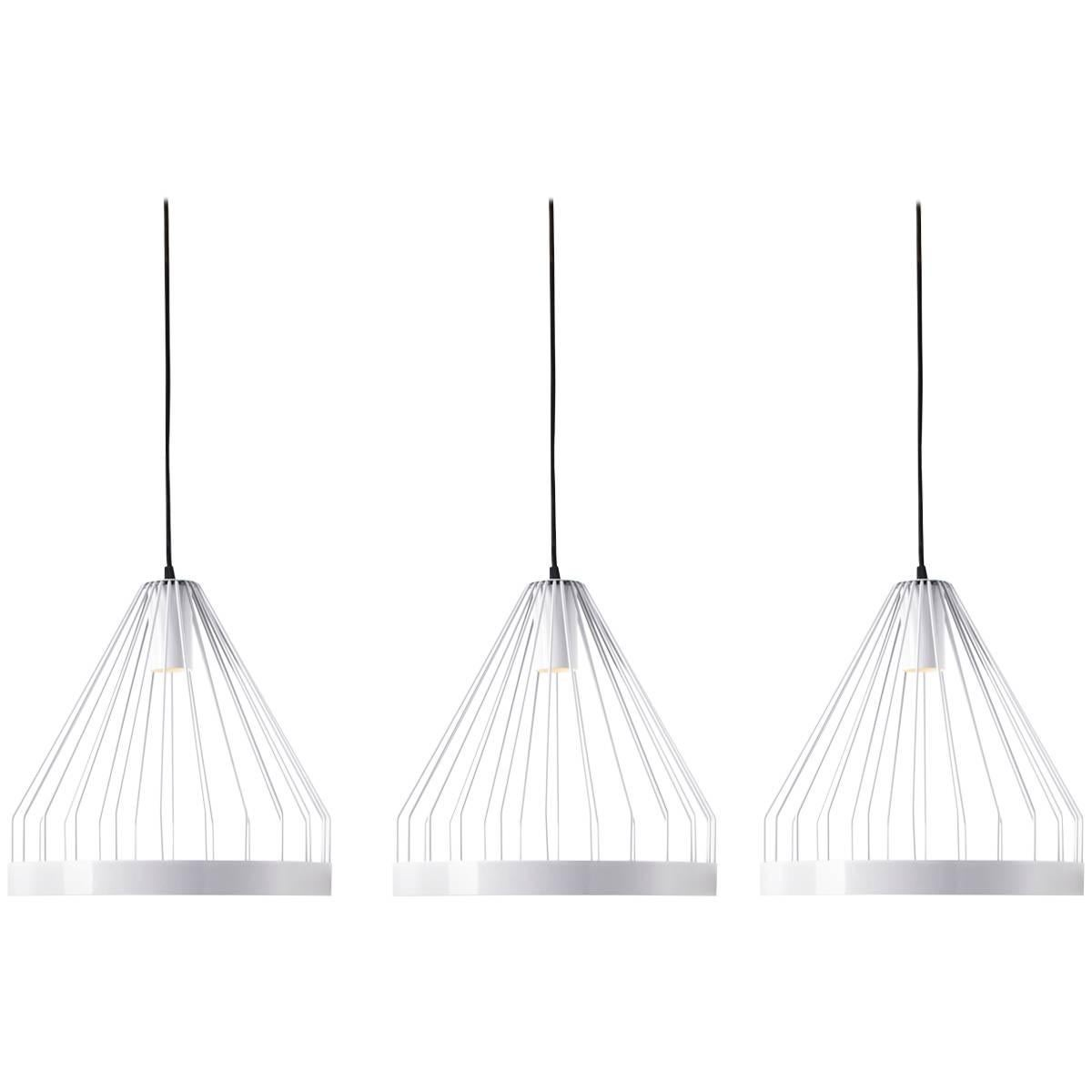 Three UL Contemporary Concealed LED Pale Gray Steel Hanging Pendant Lights