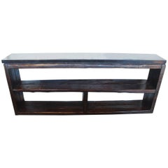 Console Made from French Re-Claimed Pine with Ebonized Limestone Top